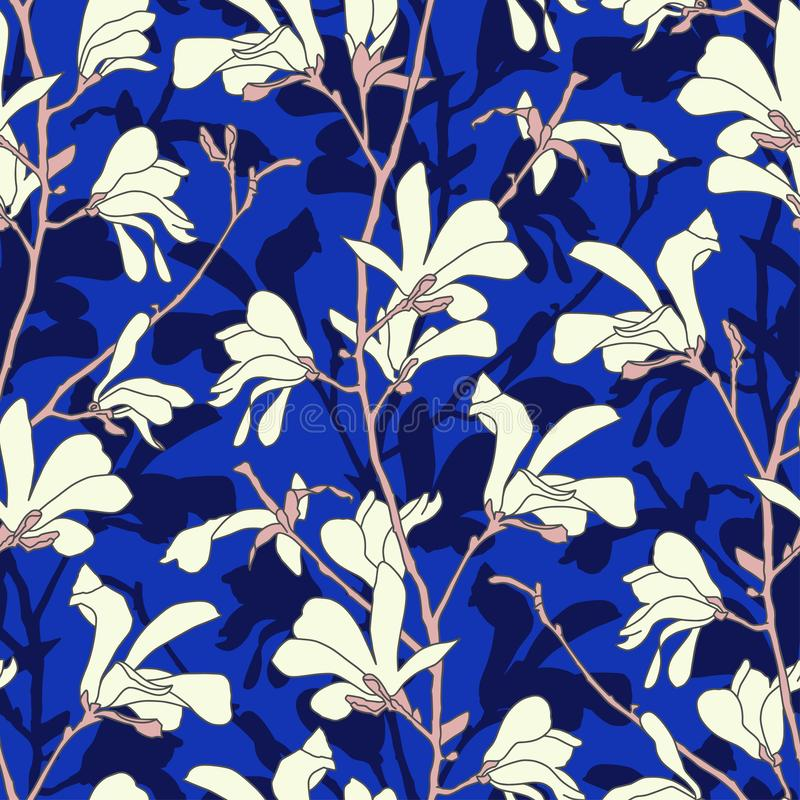 Blue floral background with branch and white magnolia flower. Seamless pattern with magnolia tree blossom. Spring design royalty free illustration