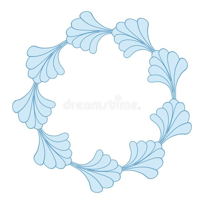 Blue Floral Frame Border Isolated on White Background. Vector stock illustration