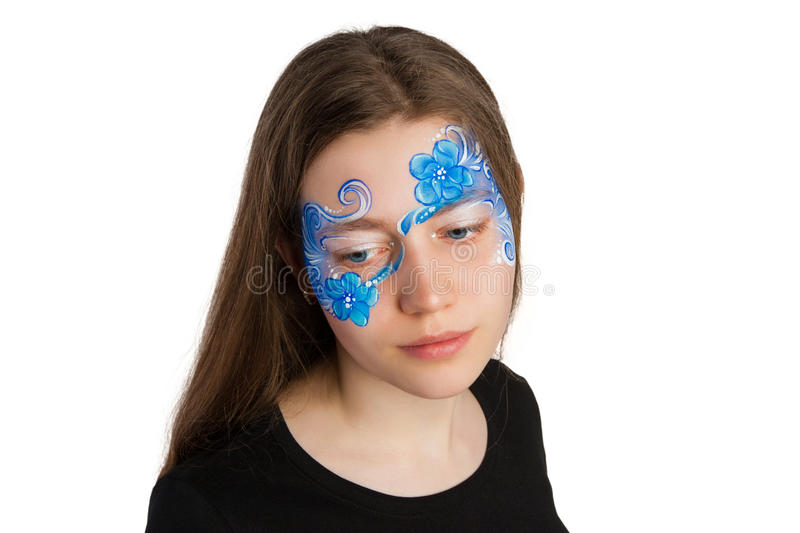 Blue floral ornament face painting stock photos
