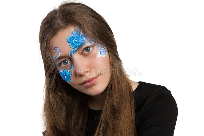 Blue floral ornament face painting royalty free stock image