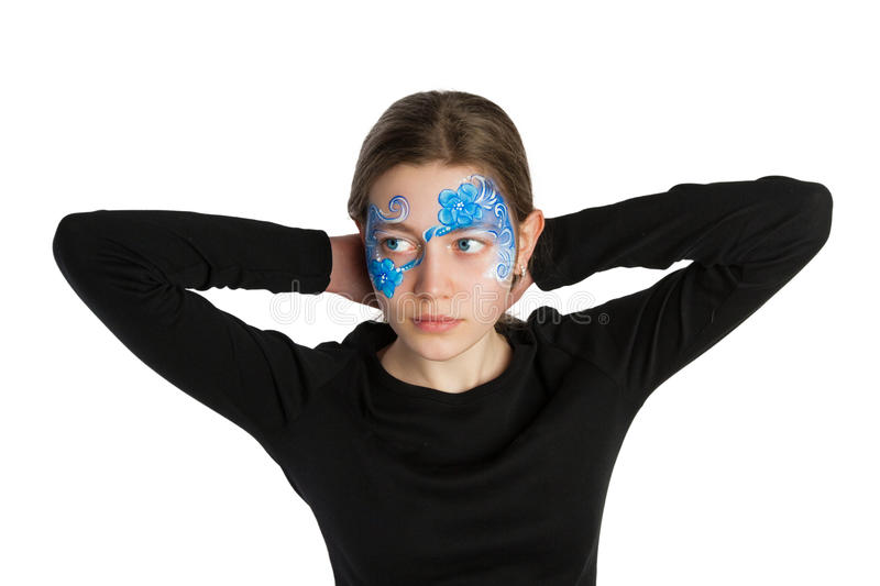 Blue floral ornament face painting royalty free stock images