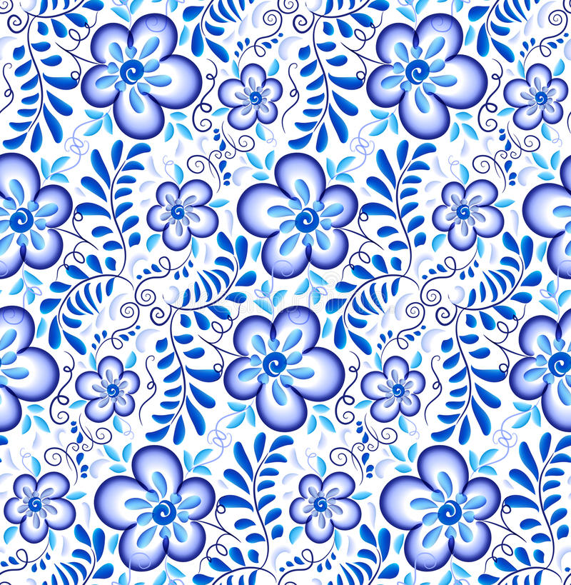 Blue floral ornament in Russian gzhel style vector seamless pattern stock illustration