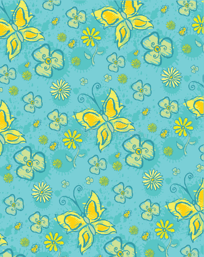 Free Blue Floral Pattern Royalty Free Stock Photography - 9778237