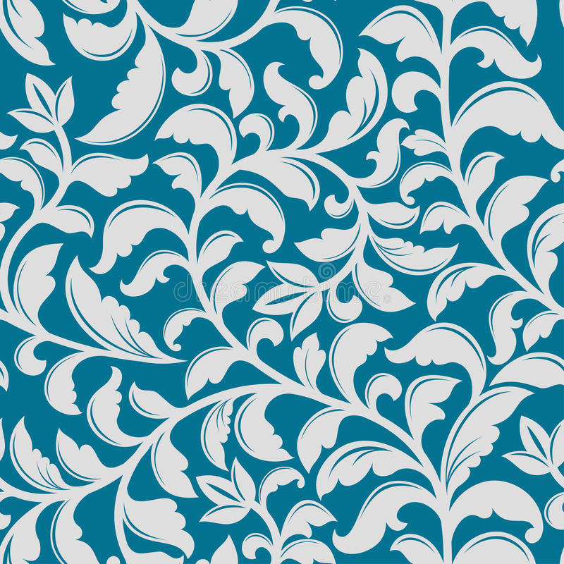 Blue Floral Pattern With Decorative Elements For Background Or Wallpaper Design