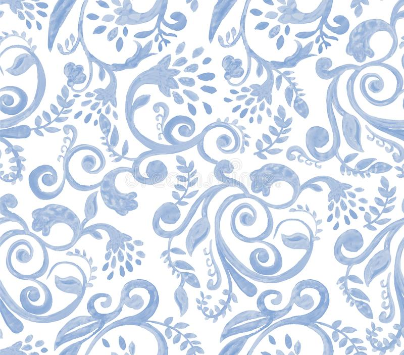 Blue floral pattern on white background. Hand made watercolor seamless texture for clothes, fabric royalty free illustration