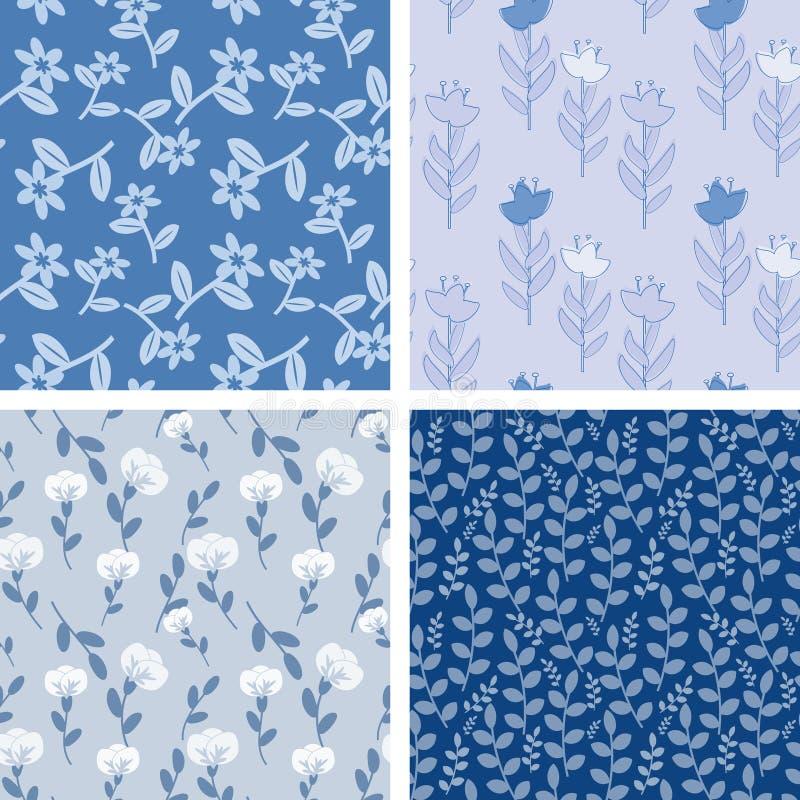 Blue floral patterns. Dark and light blue seamless patterns stock illustration