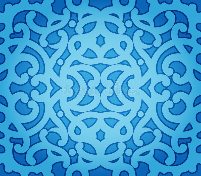 Blue Floral Seamless Pattern Stock Photos
