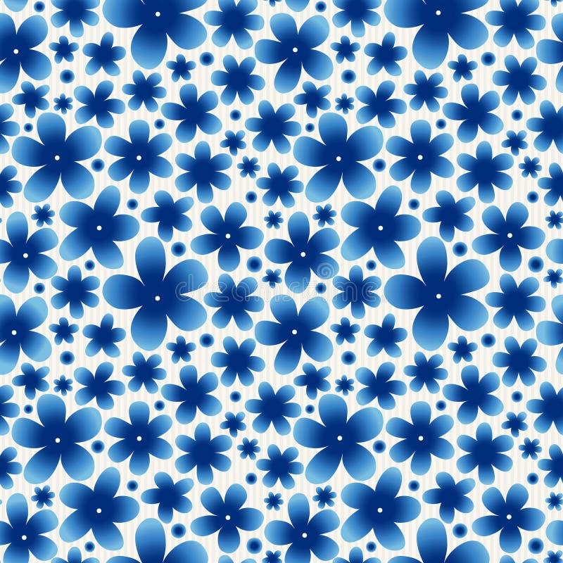 Blue floral seamless pattern on light background. vector illustration