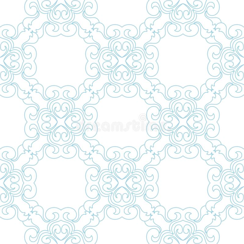 Blue floral seamless pattern on white background royalty free illustration
