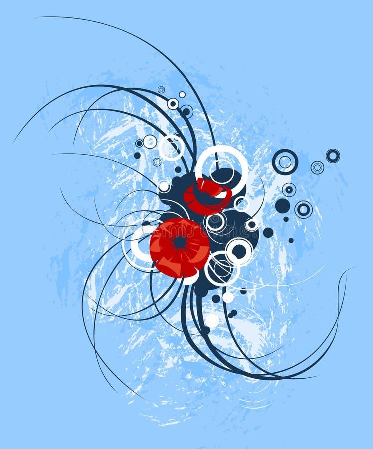Blue floral swirl royalty free illustration