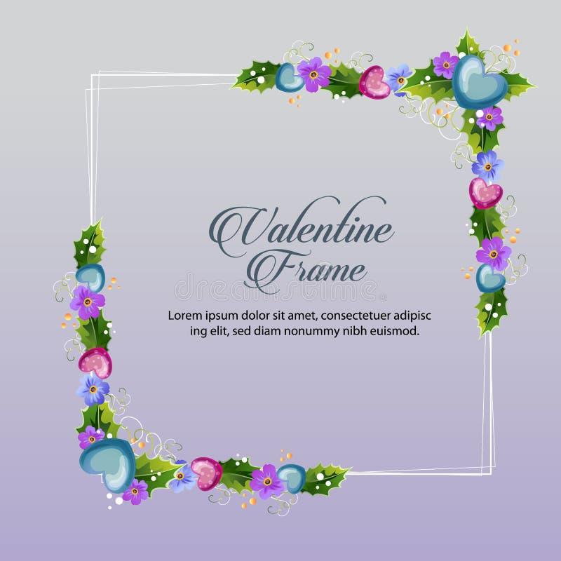 Blue floral valentine frame vector illustration
