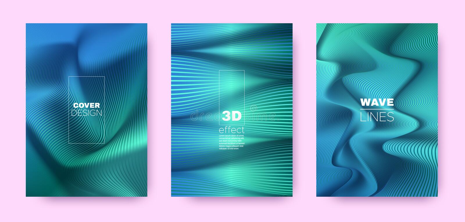 Blue Flow Banner. Design Covers Set. Movement. Lines Pattern. 3d Geometric Background. Flow Vibrant Lines. Dynamic Covers Set. Cyan Minimal Poster. Blue Flow royalty free illustration