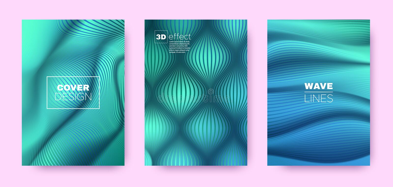 Blue Flow Banner. Vector Covers Set. Dynamic. Distorted Lines. 3d Geometric Background. Flow Vibrant Lines. Business Covers Set. Cyan Abstract Poster. Teal Flow vector illustration