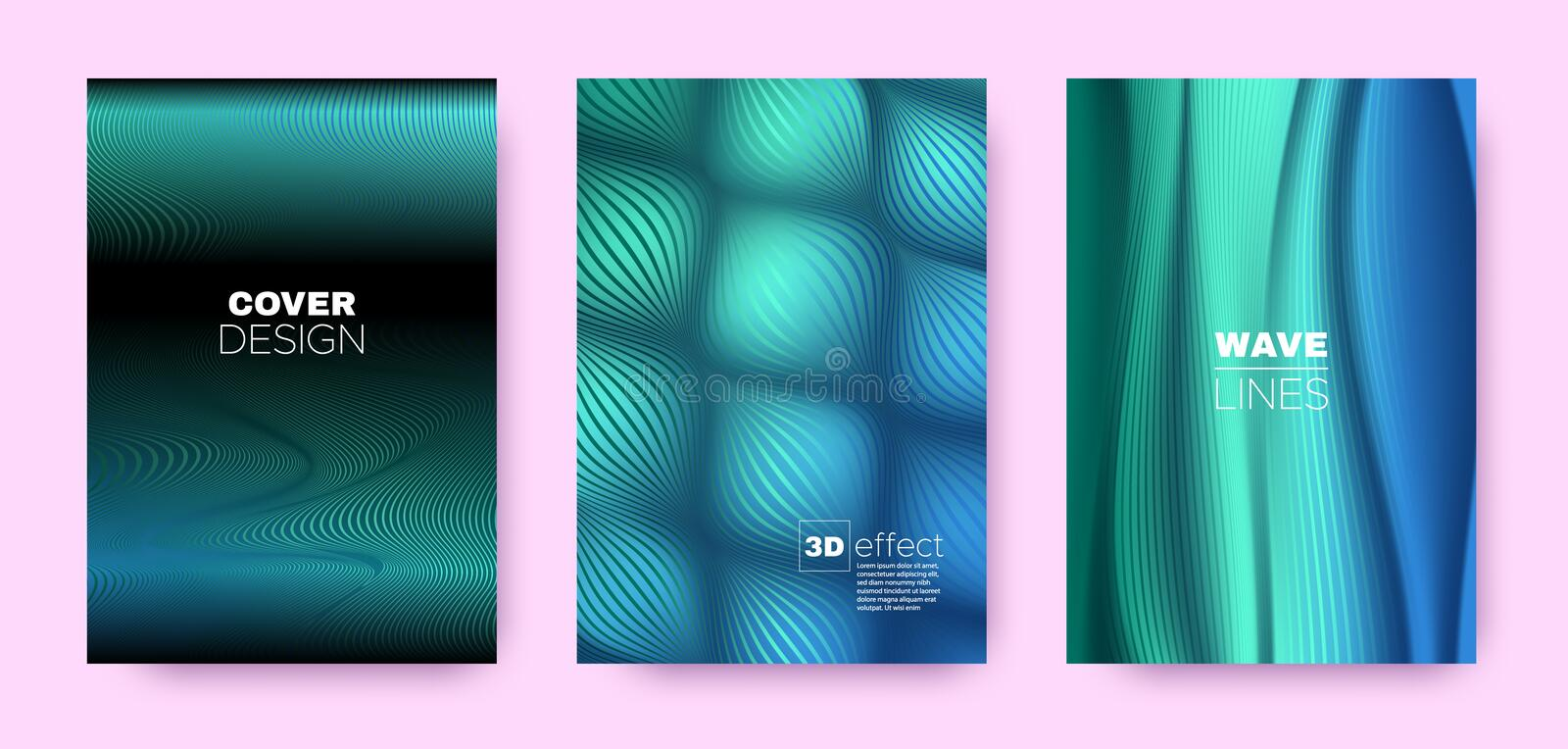 Blue Flow Banner. Vector Covers Set. Movement. Lines Pattern. 3d Geometric Background. Flow Distorted Lines. Dynamic Covers Set. Blue Abstract Poster. Green royalty free illustration