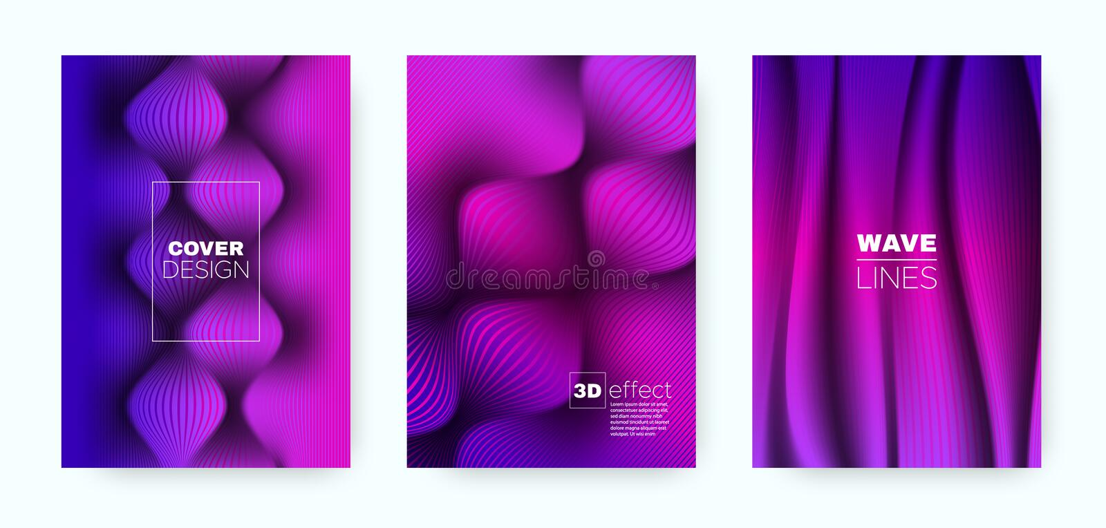 Blue Flow Poster. Abstract Cover. Blue Business. Brochure. Purple 3d Movement Linear Texture. Flow Poster. Abstract Cover. Business Brochure. Fluid Poster stock illustration