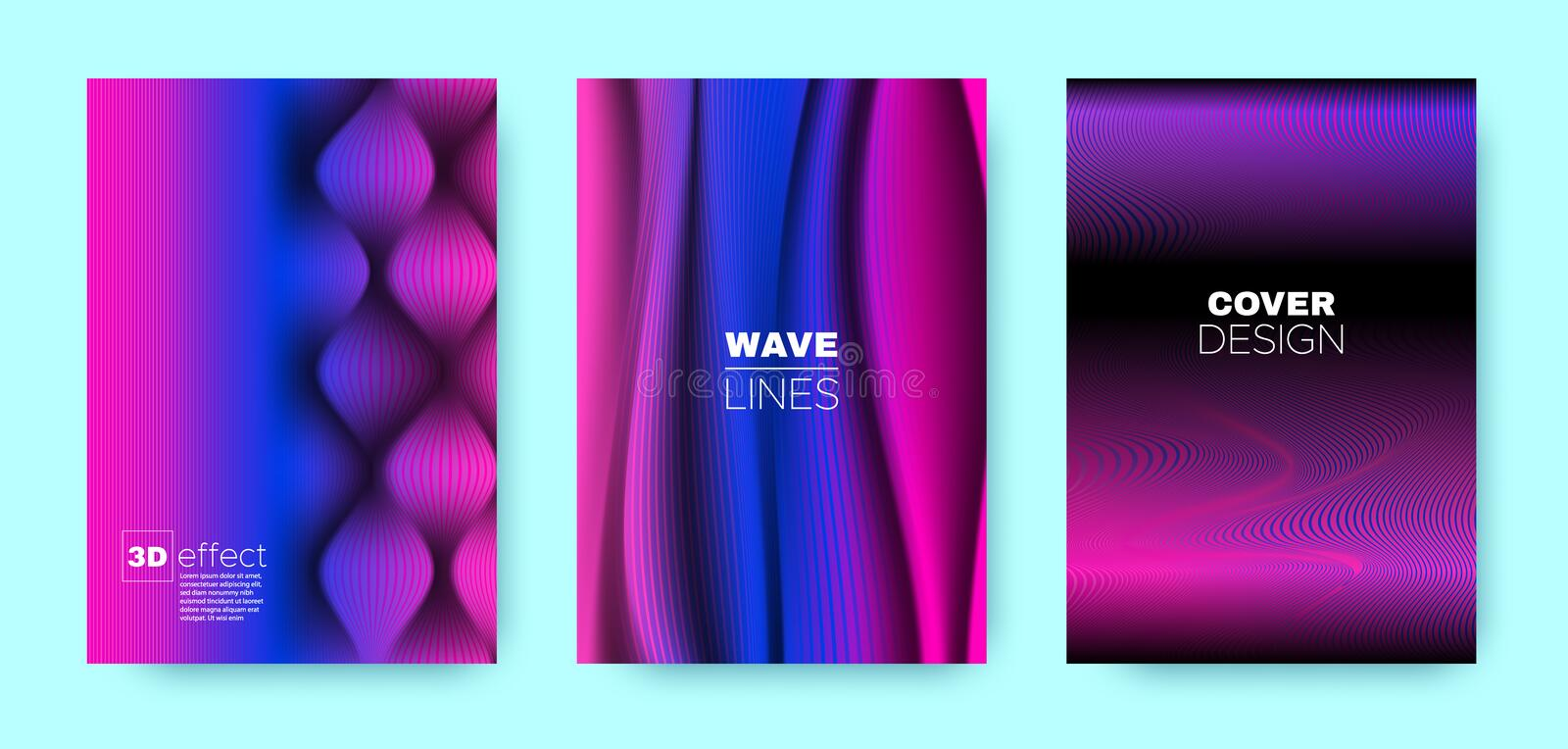 Blue Flow Poster. Headline Cover. Magenta Dynamic. Brochure. Purple 3d Geometric Linear Texture. Wave Poster. Vector Cover. Business Illustration. Wave Poster vector illustration