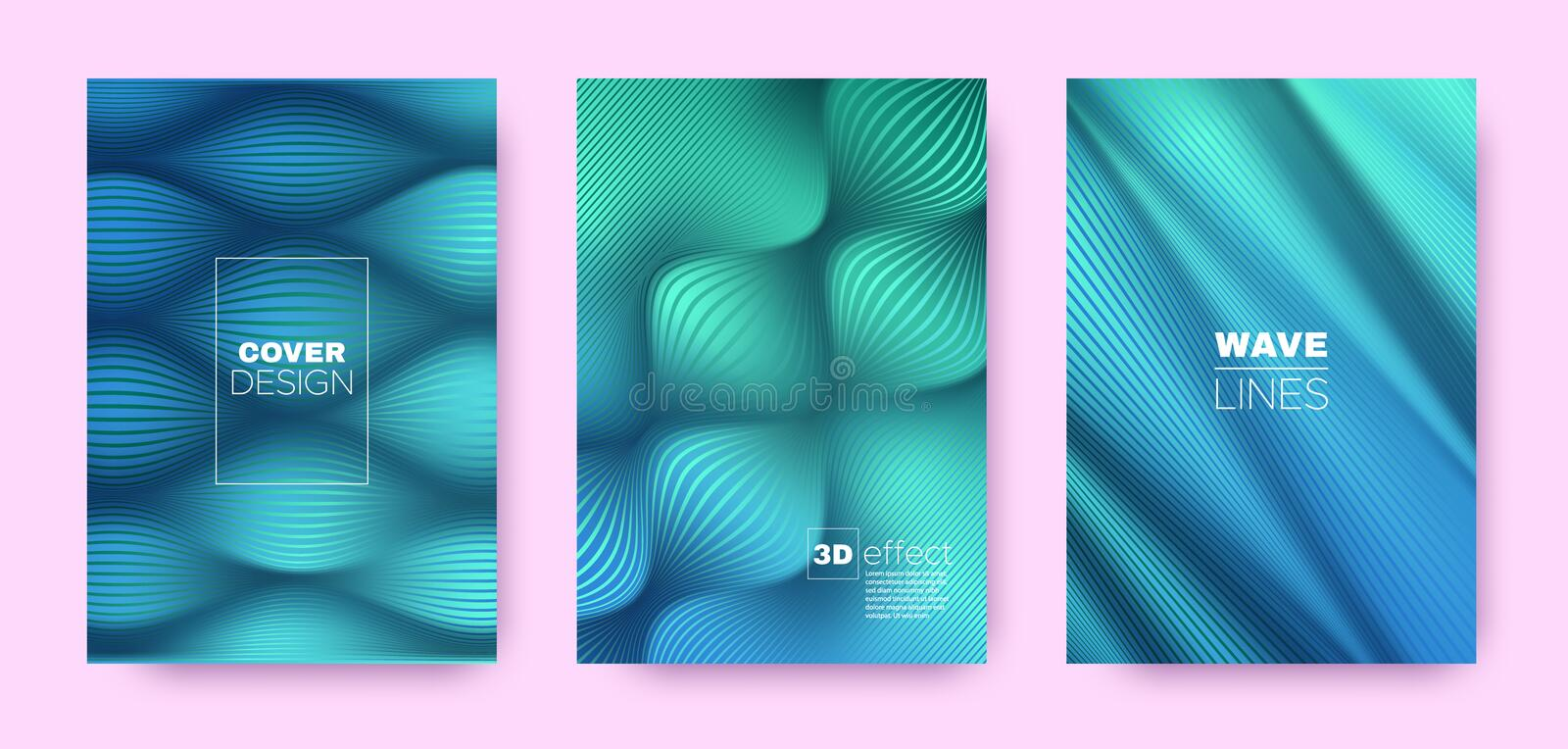 Blue Flow Poster. Minimal Covers Set. Movement. Distorted Lines. 3d Geometric Background. Flow Lines Pattern. Dynamic Covers Set. Green Design Poster. Green stock illustration
