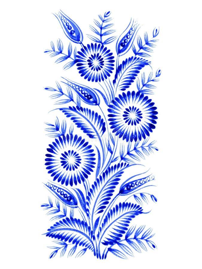 Blue flower composition stock illustration