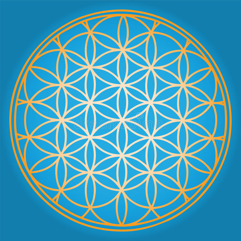 Blue Flower of life royalty free illustration