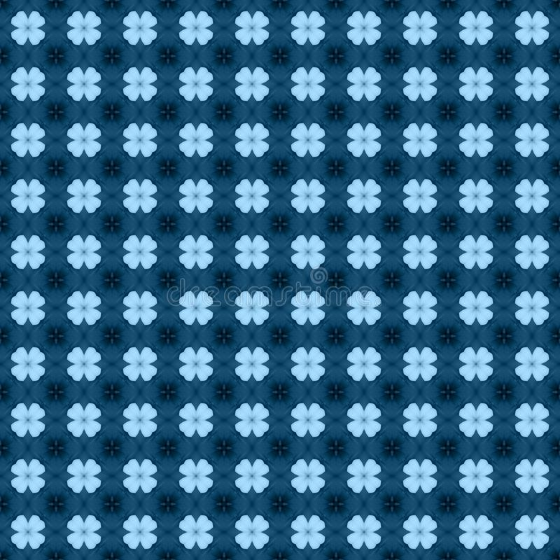 Blue flower mosaic detailed seamless textured pattern background stock photos