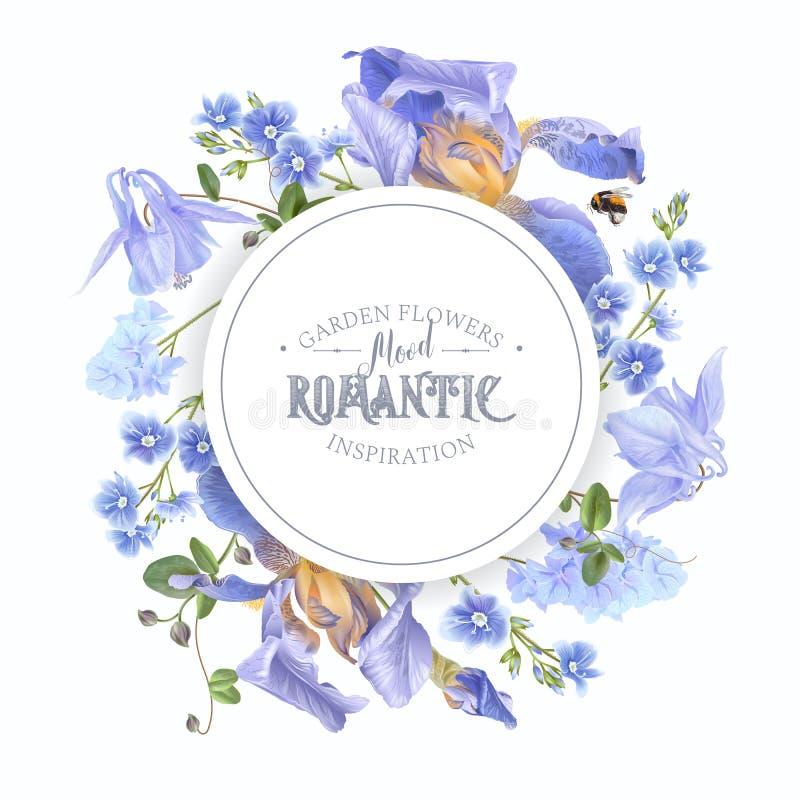 Blue flower round banner royalty free illustration