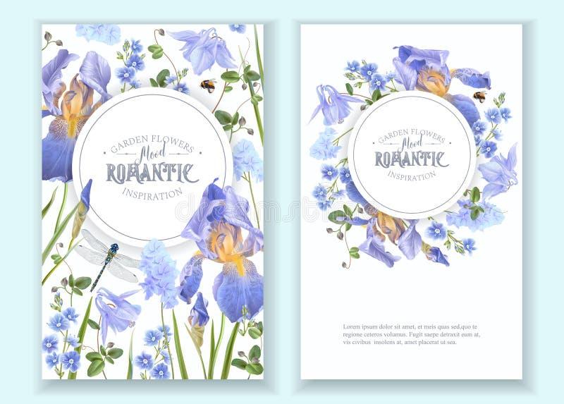 Blue flower round banners vector illustration