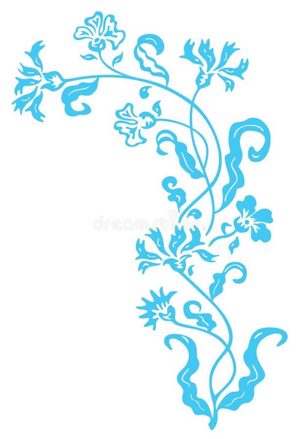 Blue flower and vines pattern stock illustration