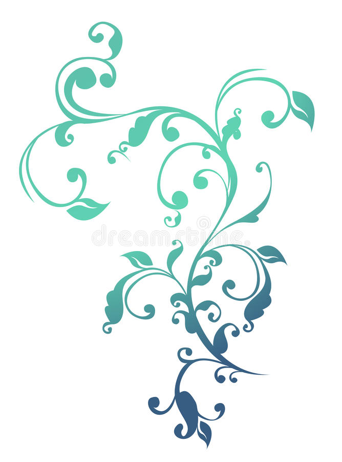 Blue flower and vines pattern royalty free illustration