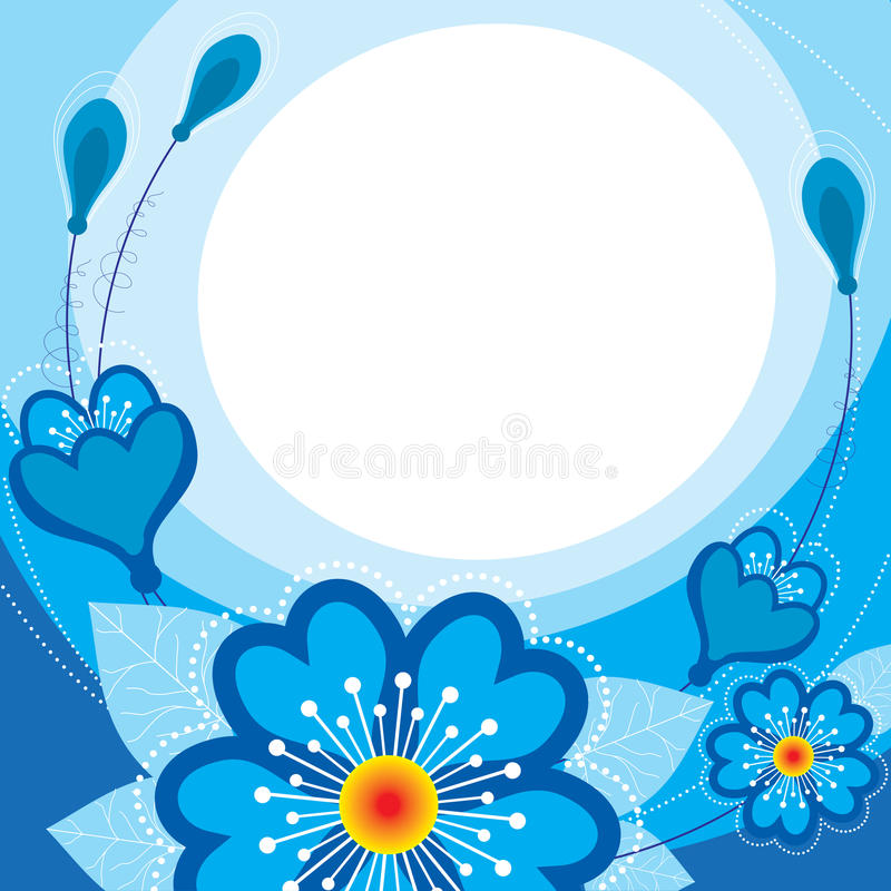 Download Blue Flowers On A Blue Background Stock Vector - Image: 23780281