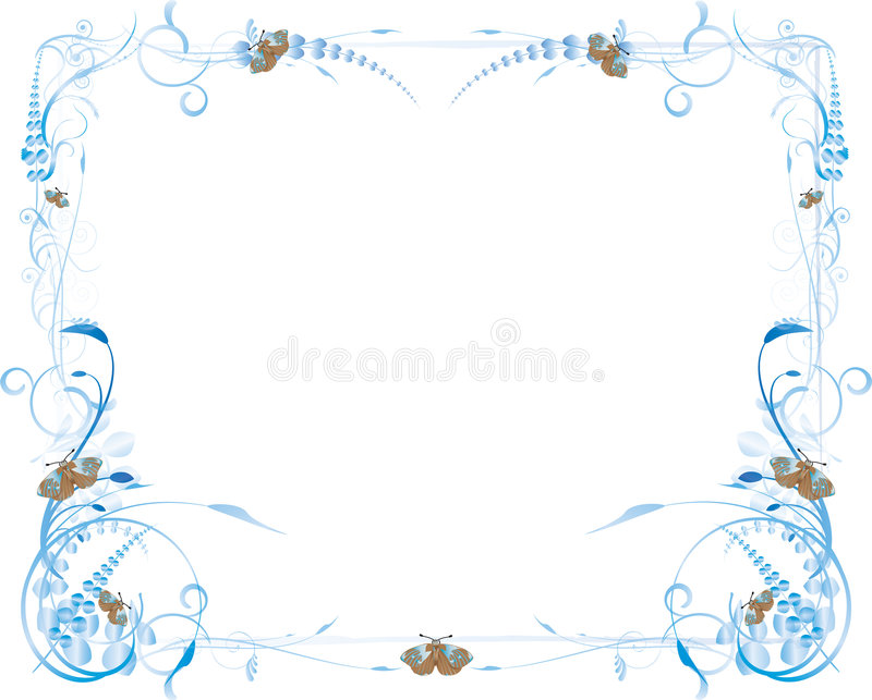 Blue Flowers and Butterfly Frame royalty free illustration