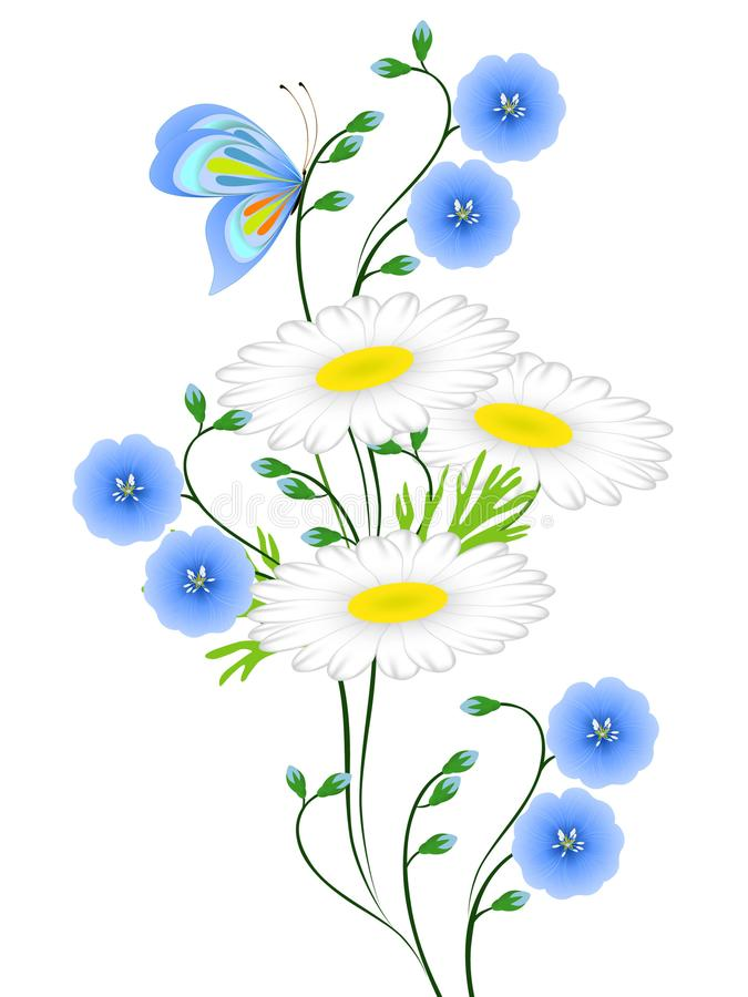 Blue flowers of flax and daisies with butterfly on white background. stock illustration