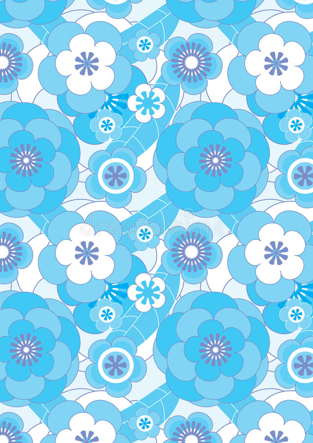 Blue Flowers Flourish Seamless Pattern_eps. Illustration of blue flowers flourish and leaves seamless pattern. --- This .eps file info Document: A4 Paper Size stock illustration