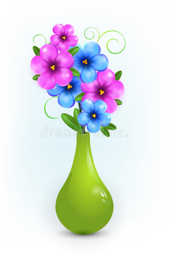 Free Blue Flowers In Green Vase Royalty Free Stock Photography - 28235937