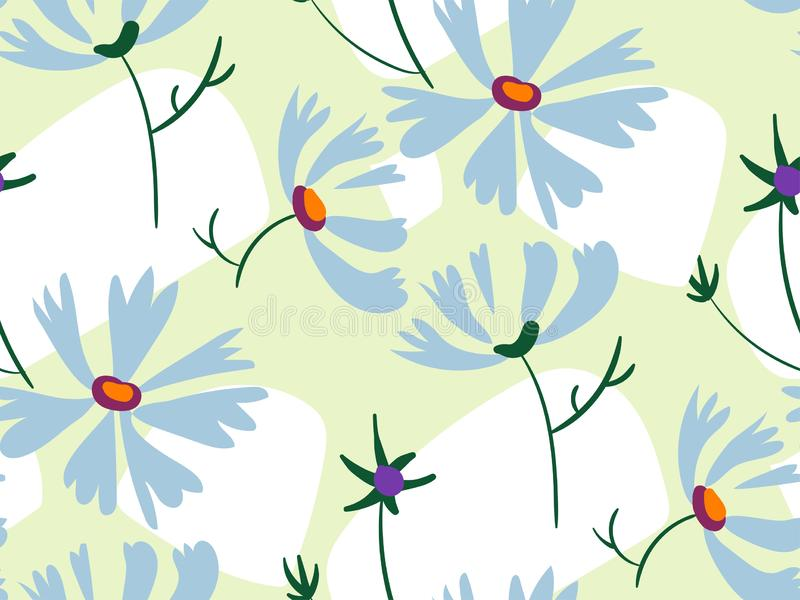 Blue flowers light green seamless pattern vector floral design primitive scandinavian vector illustration