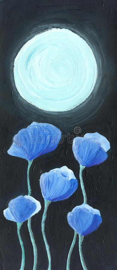 Blue Flowers In The Moonlight Stock Photos