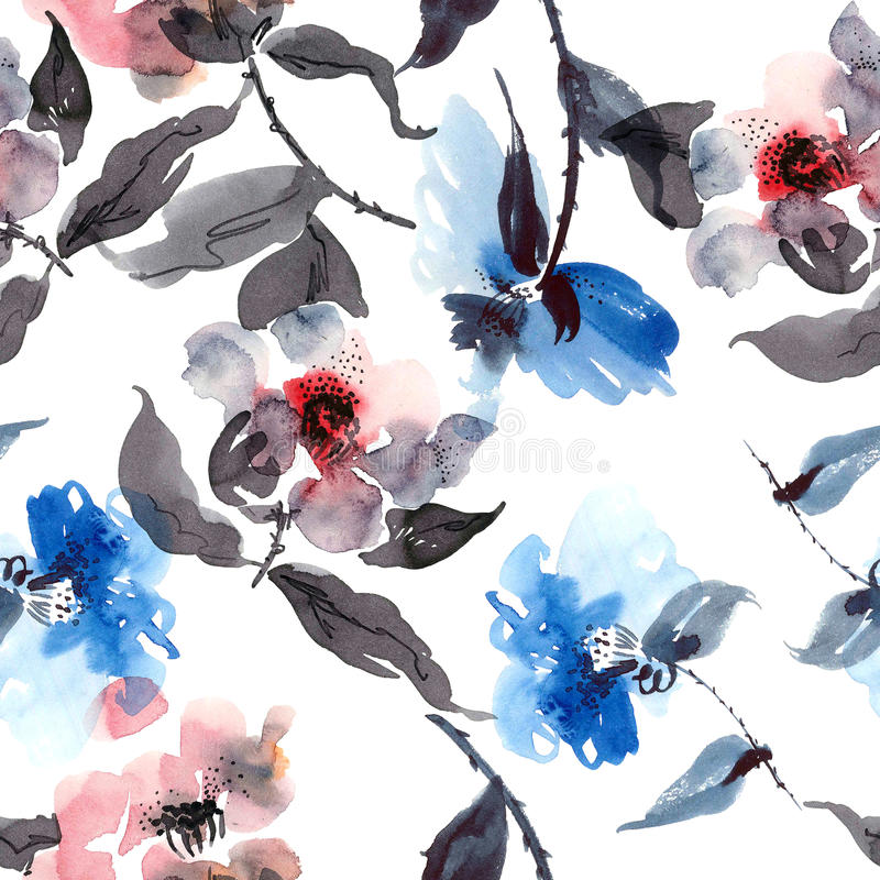 Blue flowers pattern royalty free illustration