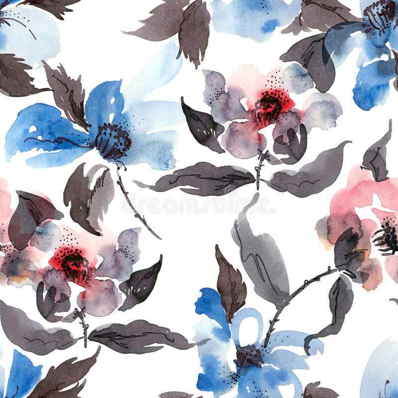 Blue flowers pattern stock illustration