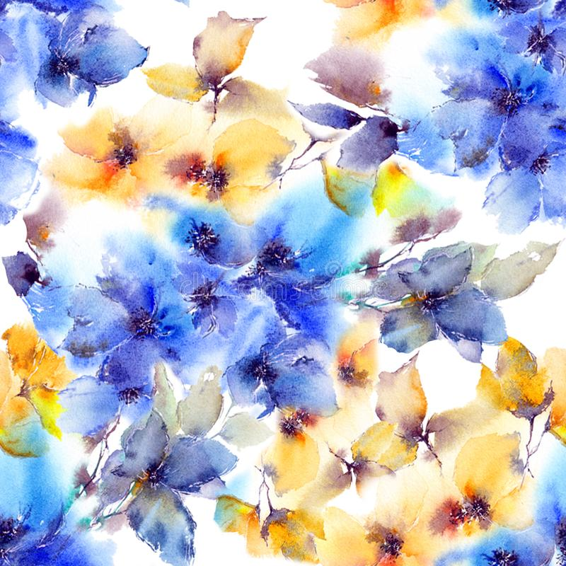 Watercolor floral seamless pattern. Watercolor blue flowers for greeting card design. vector illustration