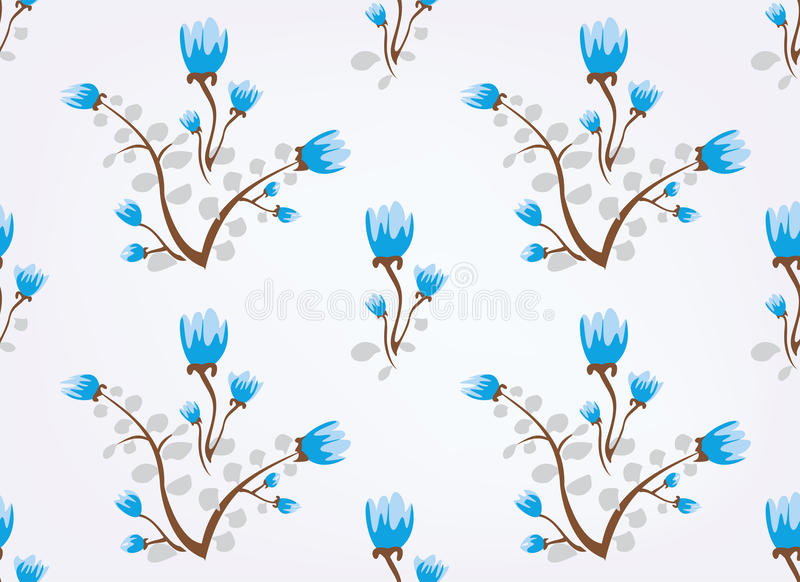 Download Blue Flowers Vintage Seamless Background Stock Vector - Image: 19412139