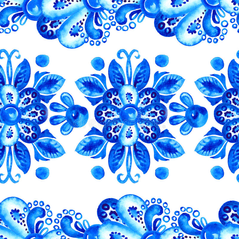 Blue Flowers. Watercolor Ornamental Blue Border Stock Illustration ...