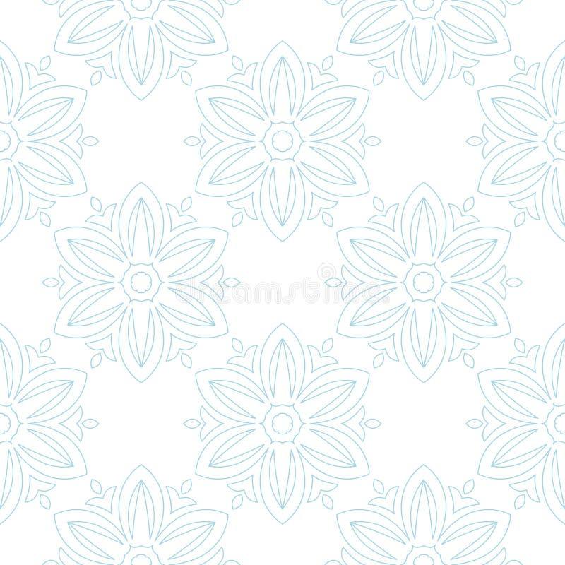 Blue flowers on white background. Ornamental seamless pattern vector illustration
