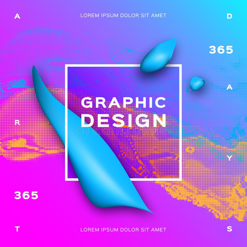 Blue fluid shapes, Liquid geometric background. Glowing particles liquid dynamic flow. Futuristic poster template vector illustration