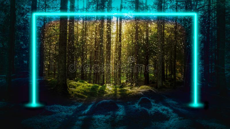 Blue fluorescent neon laser lights in green magical forest landscape. royalty free stock photos
