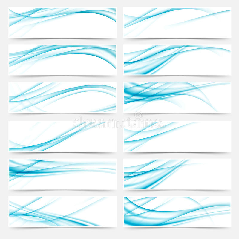 Blue flyers web swoosh modern headers footers vector illustration