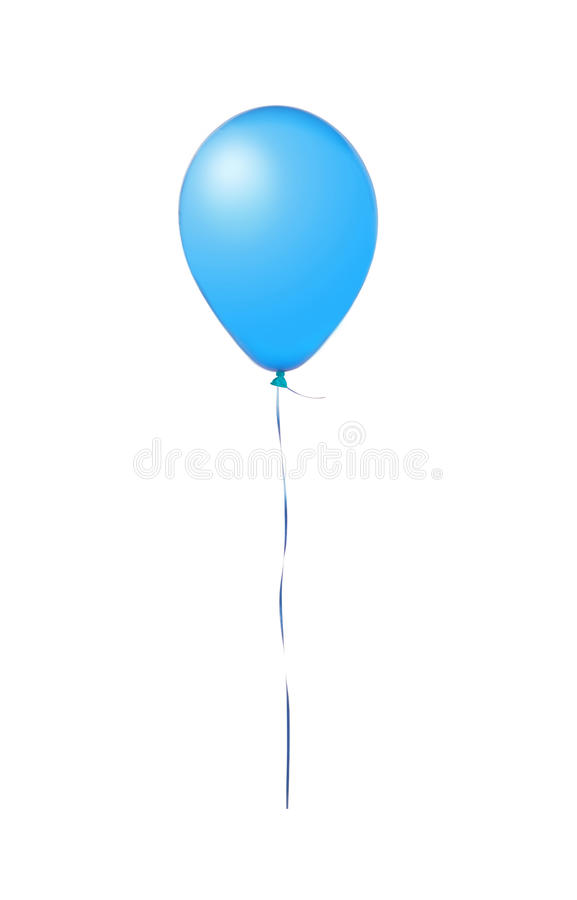 Blue flying balloon isolated on white stock images