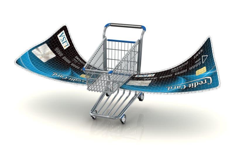 Download Blue Flying shopping cart stock illustration. Image of cart - 13597994