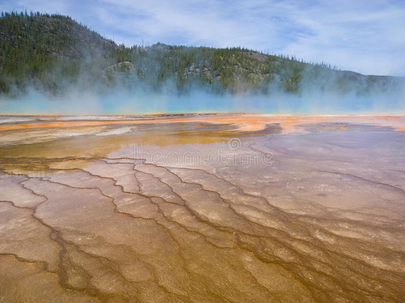 Blue Fog. Steam rising from the Grand Prismatic Spring at Yellowstone National Park in Wyoming, USA. The colors of the microbial mats depend on the ratio of stock photo