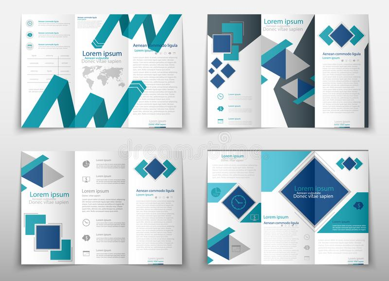 Leaflet cover presentation abstract geometric background, layout in A4 size Blue fold set technology annual report. Blue fold set technology annual report vector illustration