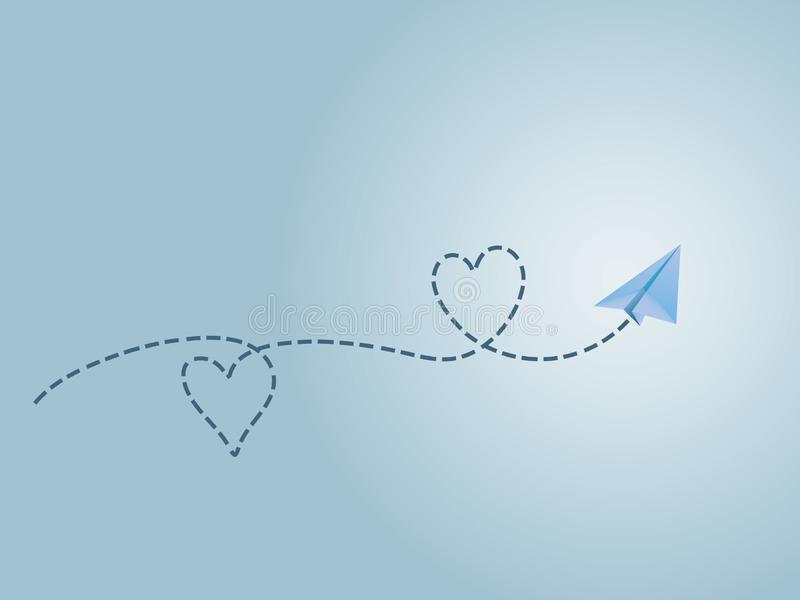 A blue folded paper plane making love sign route to show happy travel emotion. Vector illustration vector illustration