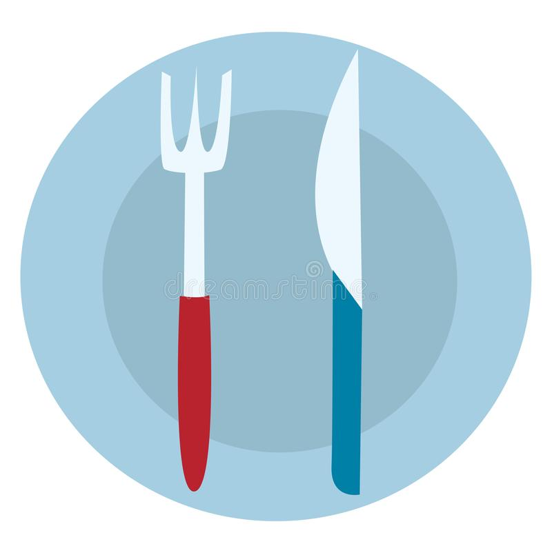 Blue food plate with fork and knife illustration vector. On white background royalty free illustration